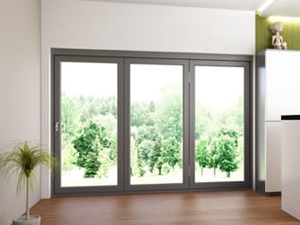 3 panel external bifold doors in modern kitchen extension