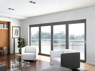 4 panel external bi-fold doors in modern sitting room